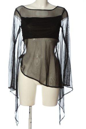 Bäres Transparentna bluzka czarny Siateczkowy wzór W stylu casual