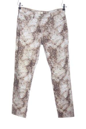 BAF Pantalon cinq poches brun-blanc cassé motif animal style décontracté