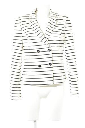 BAF Blazer court blanc-noir motif rayé style décontracté