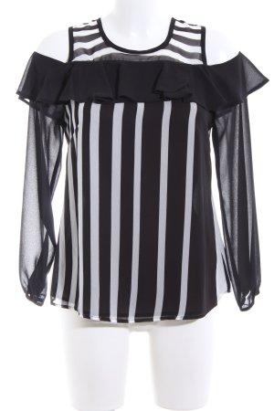 Bagatelle Transparent Blouse black-light grey striped pattern casual look