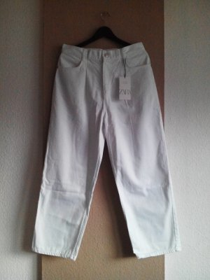 Zara Accesoires Workowate jeansy biały Bawełna