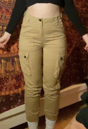 Bershka Workowate jeansy beżowy