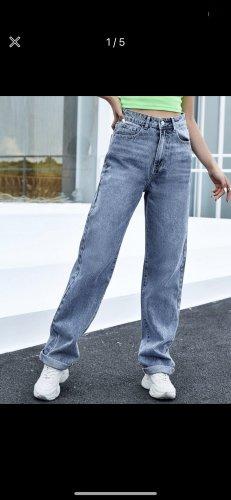 SheIn Workowate jeansy stalowy niebieski-szary niebieski