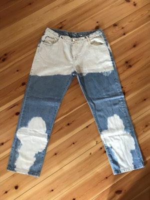 Vintage Workowate jeansy błękitny-biały