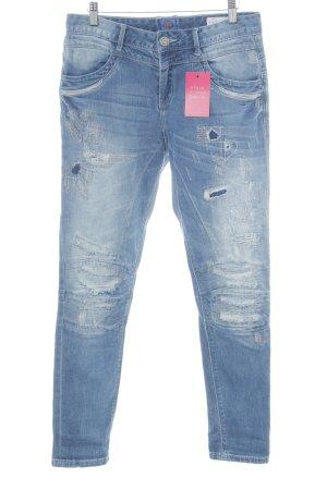 Jeans larghi blu acciaio stile casual