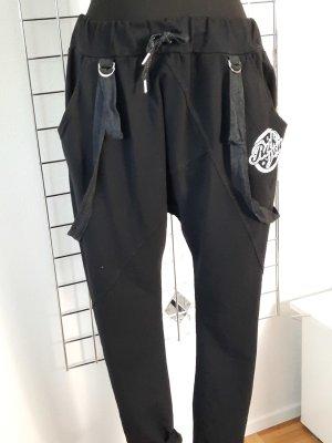 Made in Italy Pantalón abombado blanco-negro