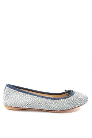 Bagllerina Bailarinas plegables azul-blanco estampado a lunares look casual