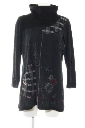 Colshirt zwart-lichtgrijs prints met een thema casual uitstraling