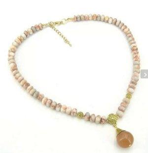 BAILYSBEADS edle Jaspis Kette Halskette mit Mandarin- Granat Anhänger