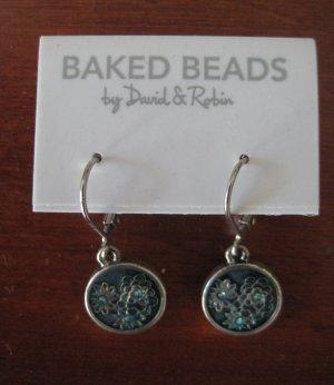 Baked Beads by David & Robin Wiszące kolczyki srebrny-petrol Metal
