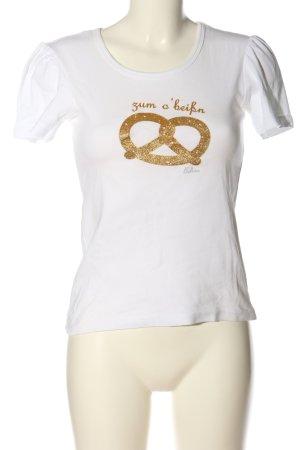 Balbina Blouse met korte mouwen wit-goud prints met een thema casual uitstraling