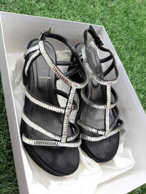 Baldinini Platform Sandals black-silver-colored leather