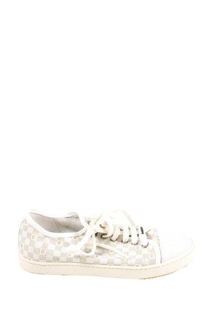 Baldinini Sneaker stringata bianco-grigio chiaro motivo a quadri stile casual