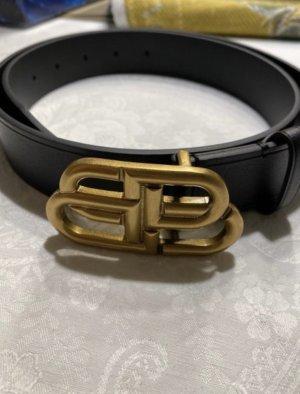 Balenciaga Leather Belt black-gold-colored