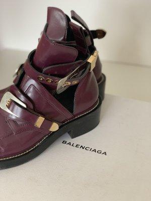 Balenciaga Ceinture Cut-Out Boots Gr 40 / Oxblood/Bordeaux