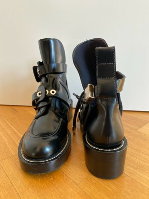 Balenciaga Cut Out Booties black leather