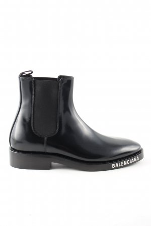 Balenciaga Chelsea Boots black printed lettering business style