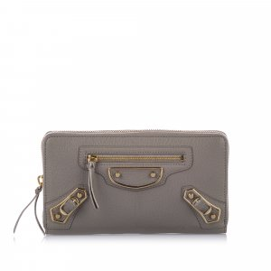 Balenciaga Classic Metallic Edge Leather Long Wallet