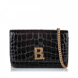 Balenciaga Croc Embossed Patent Leather B Bag Wallet On Chain