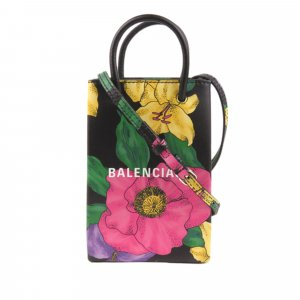 Balenciaga Floral Shopping Phone Holder Leather Satchel
