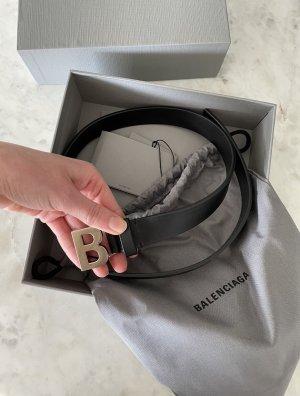 Balenciaga Cinturón de cuero negro-color plata