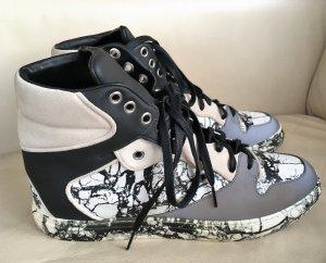 """* """" BALENCIAGA """" High Top Sneaker Leder schwarz weiß grau marmoriert Gr 40 /41"""
