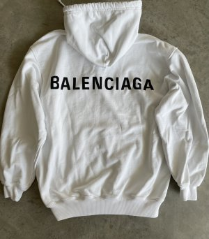 Balenciaga Jersey con capucha blanco-negro