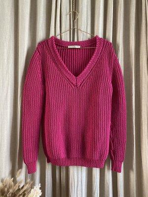 Balenciaga Knit Grob Strick Pullover Oversized V-Ausschnitt Pink Paris