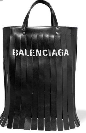 Balenciaga Sac à franges noir cuir