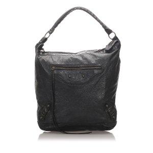 Balenciaga Sac porté épaule noir cuir