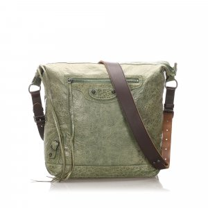 Balenciaga Shoulder Bag pale green leather