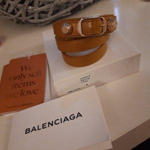 Balenciaga Bracelet en cuir doré-brun sable