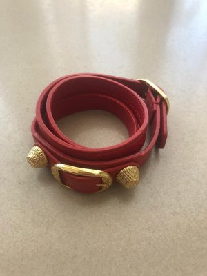 Balenciaga Bracelet dark red-gold-colored leather