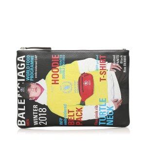 Balenciaga Magazine Print Leather Clutch Bag