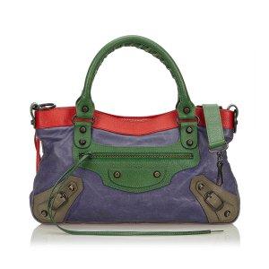 Balenciaga Bolsa de hombro púrpura Cuero
