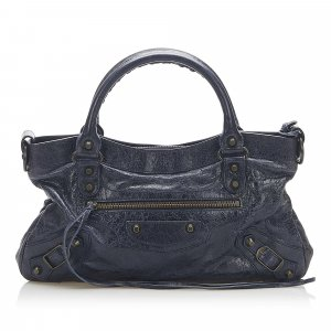 Balenciaga Satchel dark blue leather