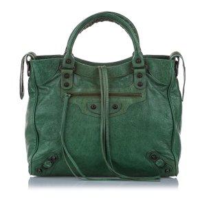 Balenciaga Satchel green leather