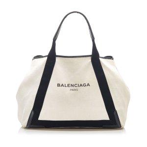 Balenciaga Navy Cabas Canvas Tote Bag