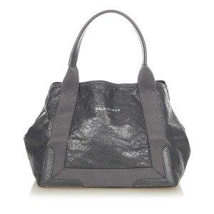 Balenciaga Navy Cabas Leather Tote Bag