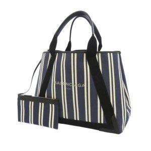 Balenciaga Navy Cabas M Canvas Tote Bag