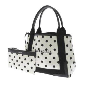 Balenciaga Navy Cabas Polka Dots S Canvas Tote Bag