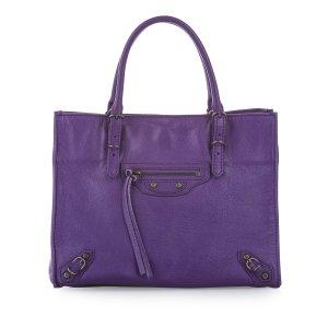 Balenciaga Mochila de colegio púrpura Cuero