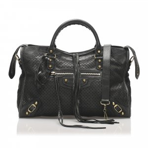 Balenciaga Perforated Motocross Classic City Leather Satchel