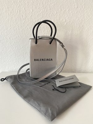 Balenciaga Mobile Phone Case silver-colored-black leather