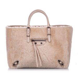 Balenciaga Shearling Papier A6 Fur Satchel