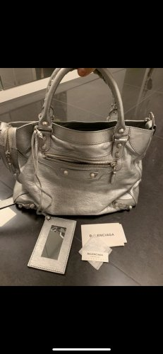 Balenciaga Shoulder Bag silver-colored leather