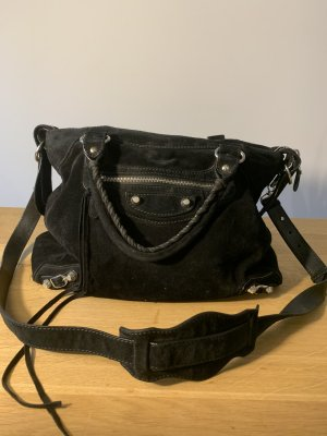 Balenciaga Crossbody bag black-silver-colored suede