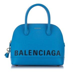 Balenciaga Mochila de colegio azul Cuero