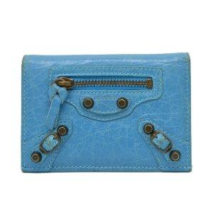 Balenciaga Portefeuille bleu cuir