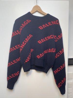 Balenciaga Maglione di lana nero-rosso